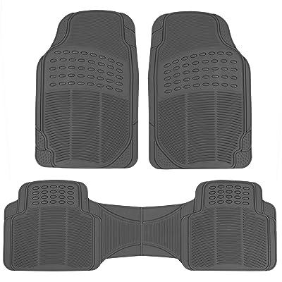 BDK MT783PLUS ProLiner Original Heavy-Duty Front & Rear Rubber Floor Mats, Gray, 3 Piece (Pack of 1): Automotive