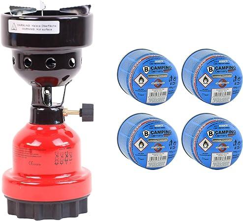 Hornillo de camping y encendedor de carbón para shisha 2 en 1, de metal, color rojo + 4 gas