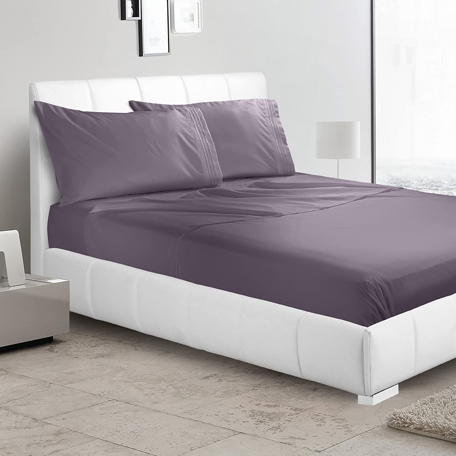 Ultra Soft Luxurious 4-Piece Bed Sheet Set, King, Eggplant-Purple