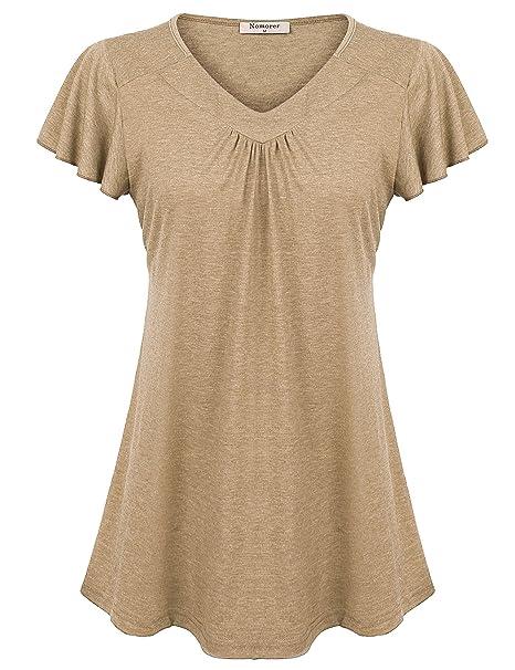 f3270299432 Nomorer Women s Simple V Neck Short Sleeve Flutter Sleeve Top at ...
