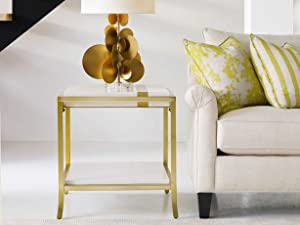 Hooker Furniture Cynthia Rowley Stripe End Table in White in Gold