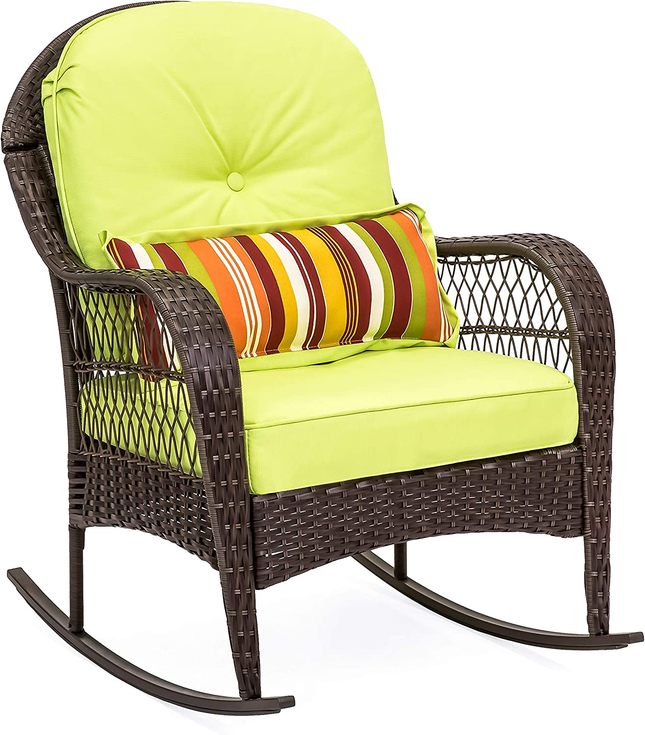 Best Choice Products Outdoor Wicker Rocking Chair for Patio, Porch, Deck, w Weather-Resistant Cushions – Green