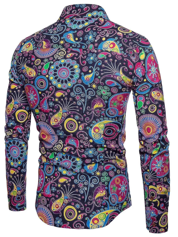 Emaor Mens Stylish Floral Long Sleeve Shirt /& Short Sleeve Shirt