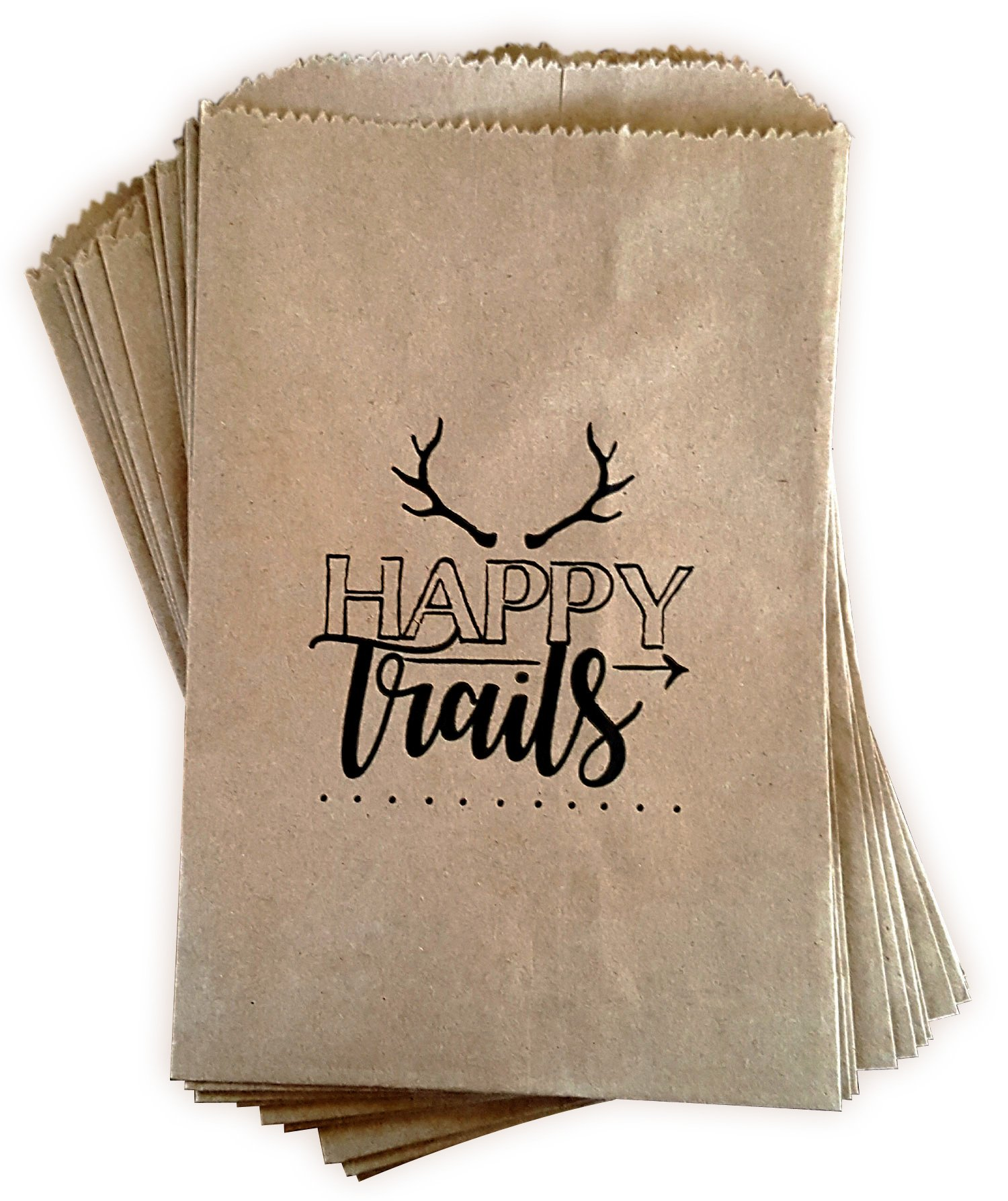 Kraft paper rustic treat bags, trail mix favor bags, candy buffet bags, gift bags made out of 100% recycled paper, antler, woodland design 24 ct''Happy Trails'' favor bags