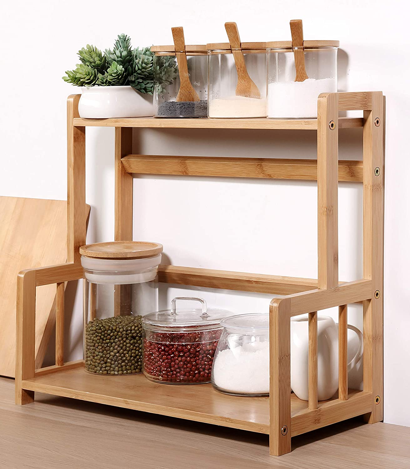 Bamboo Spice Rack Storage Shelves-2 Tier Kitchen Counter Shelf Standing Holder, Free StandingBathroom Accessories, plant stand Cosmetic Storage Display Shelf,Desk Bookshelf Office Supplies
