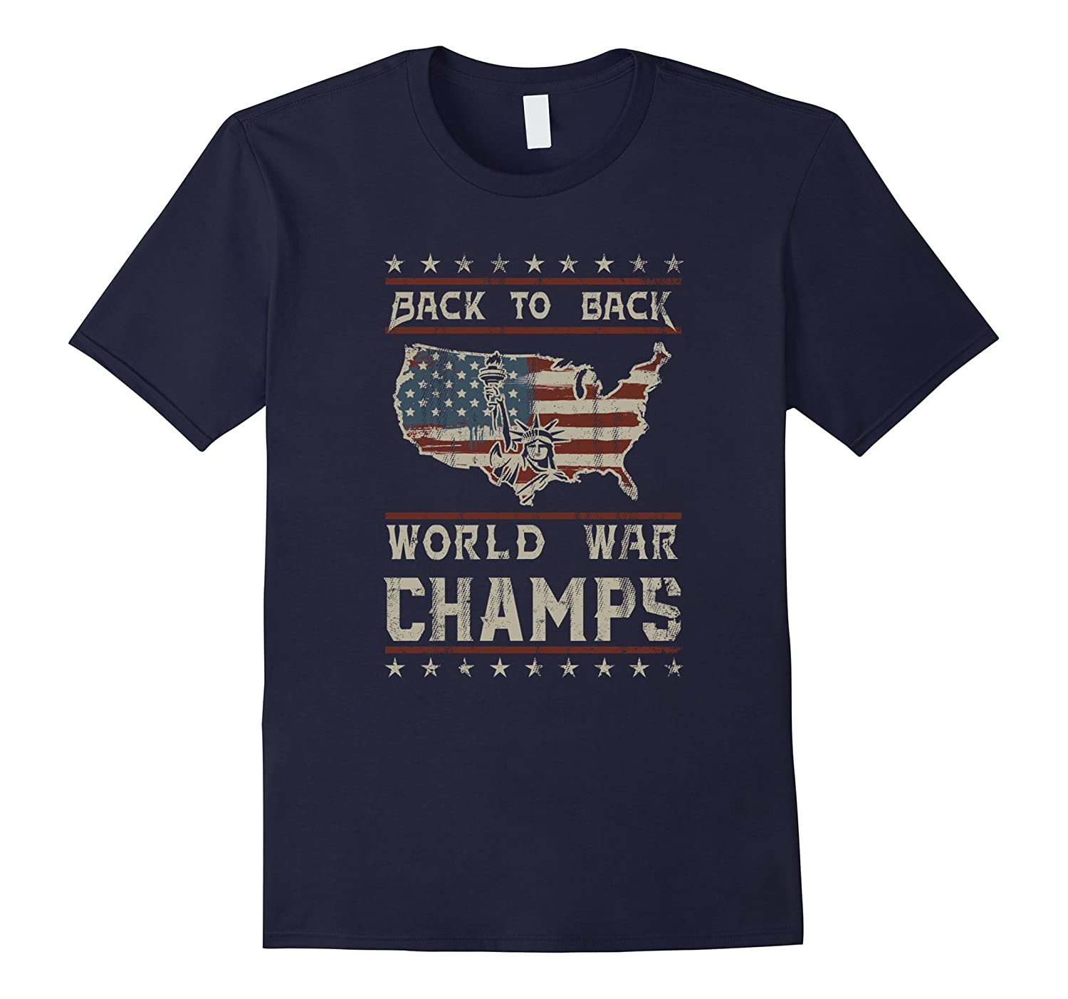 Back-To-Back World War Champs 4th Flag T-Shirt-PL