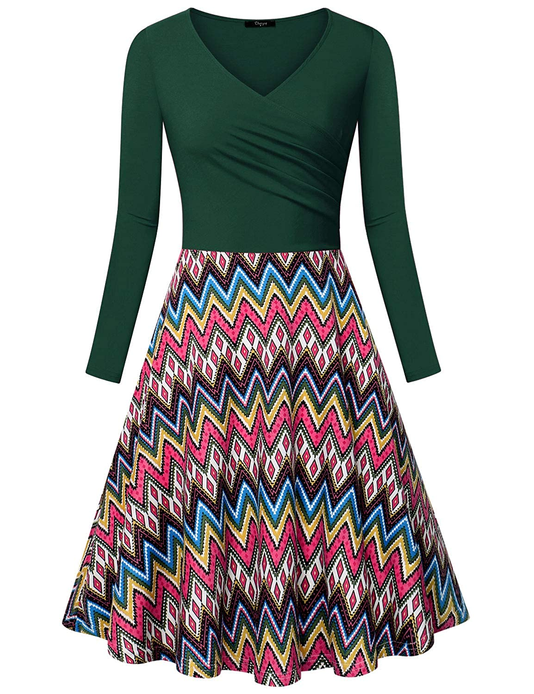 Deep Green Ckuvysq Women's Long Sleeve Elegant Cross V Neck A Line Dress