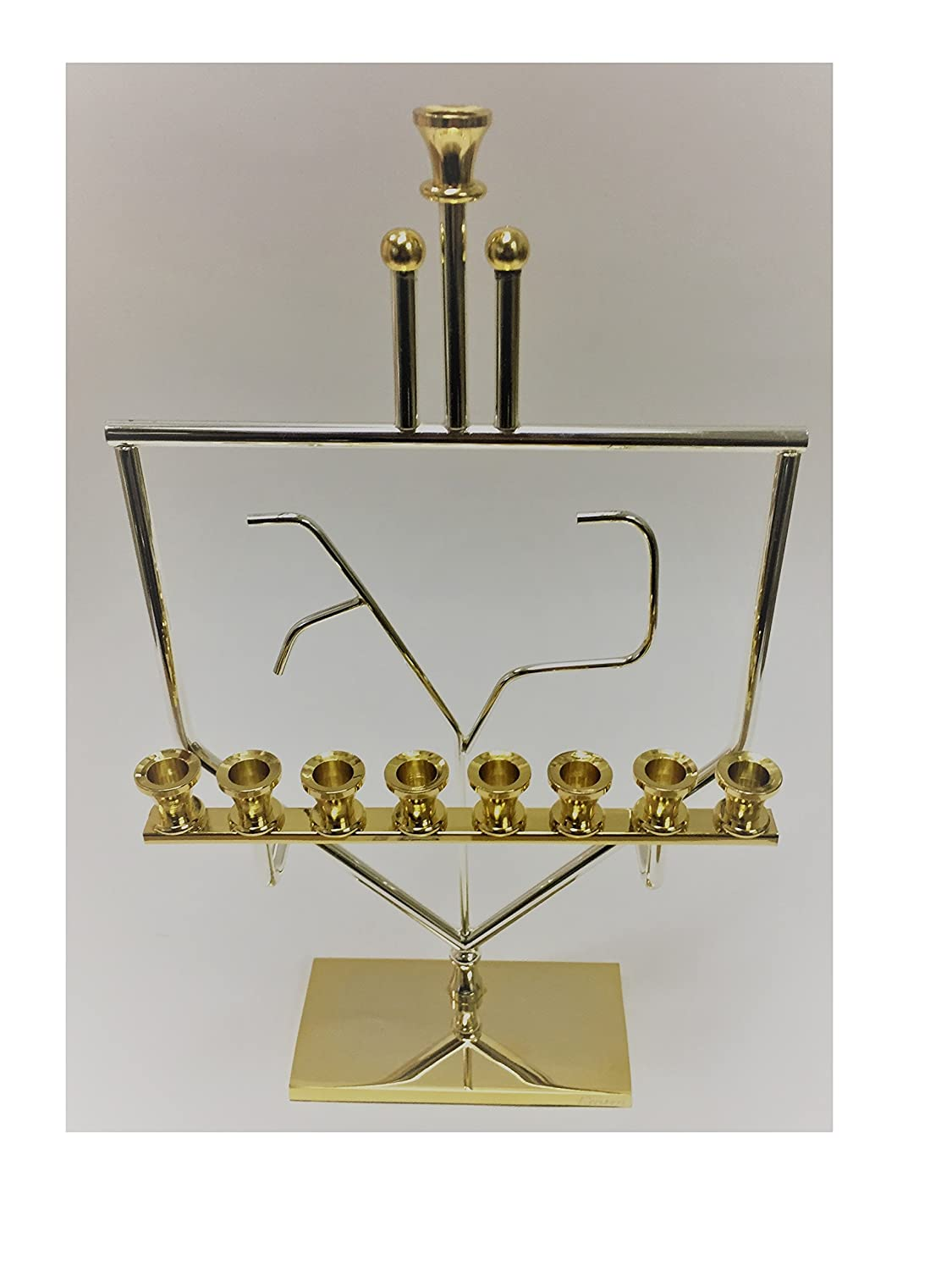 Alef Judaica Silver and Gold Colored Menorah - Nun Gimmel Dreidel Design M195