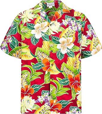 PLA - Camisa casual - Floral - cuello en V - Manga corta - para hombre