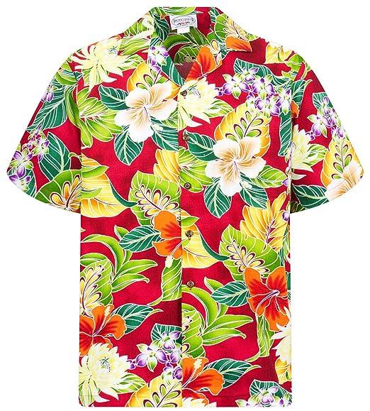 d7f6049db Lapa P.L.A. Pacific Legend   Original   Men/Small to 4XL   Hawaii Shirt  Short Sleeve Front Pocket   Hawaiian Print Flowers Jungle Leaves Red
