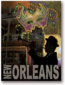 Popular New Orleans Mardi Gras Bourbon Street Trumpet Player Sign; One 12x16in Poster Print