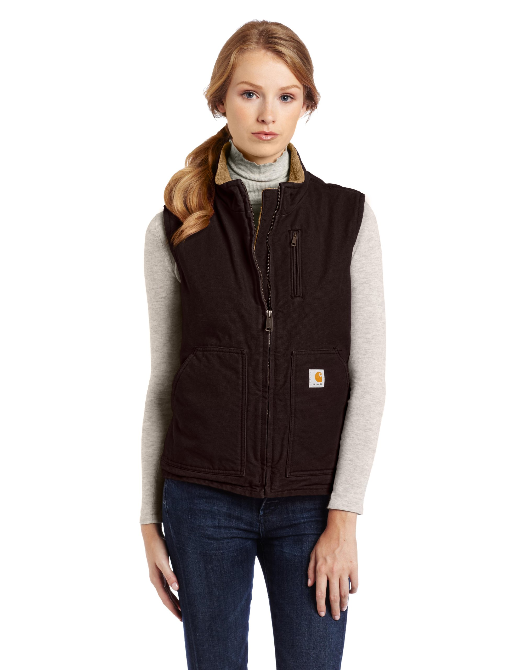 Carhartt Women's Mock Neck Sherpa Lined Vest (Regular and Plus Sizes), Dark Brown, Medium by Carhartt