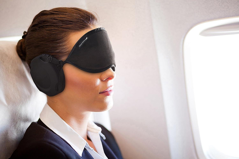 Nouveau Masque de Sommeil Hibermate avec Cache-oreilles pour Dormir. Masque Doux & Luxueux, Extérieur en Satin, les Coques d'Oreille Amovibles Réduisent le Bruit d'environ 15-20db Nrr. (Nouveau Modèle 2017 Gen 5 Rose)