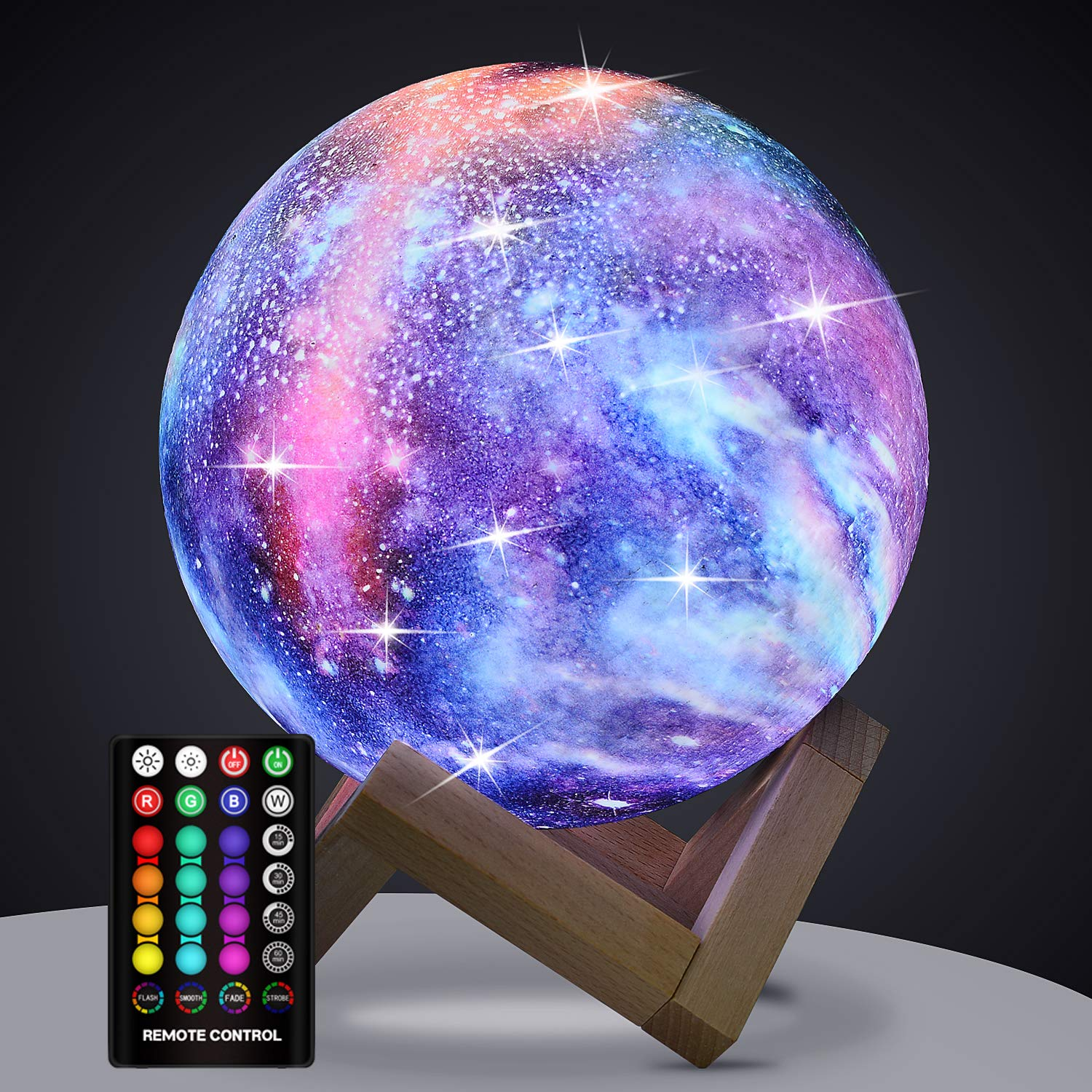 Moon Lamp Kids Night Light, GDPETS Galaxy Lamp 16 Colors 3D Star Moon Light with Wood Stand, Remote & Touch Control USB Rechargeable Perfect Gift for Baby Girls Lover Birthday