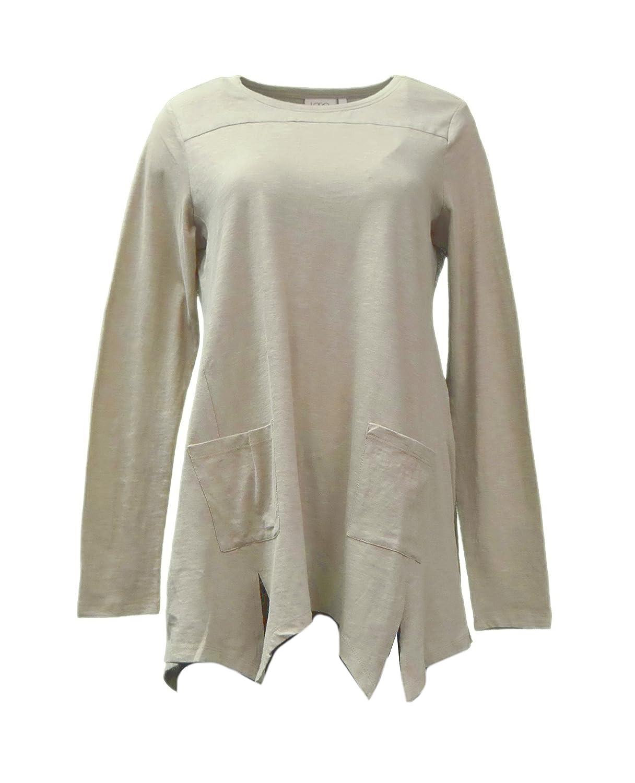 88c8933a567 LOGO by LORI GOLDSTEIN Womens Handkerchief Hem Knit Top 270629RM at Amazon  Women s Clothing store
