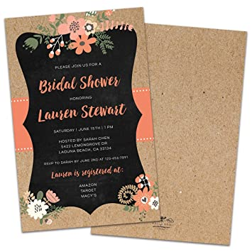 8c802457006d Image Unavailable. Image not available for. Color  Kraft Frame Floral  Personalized Bridal Shower Invitations