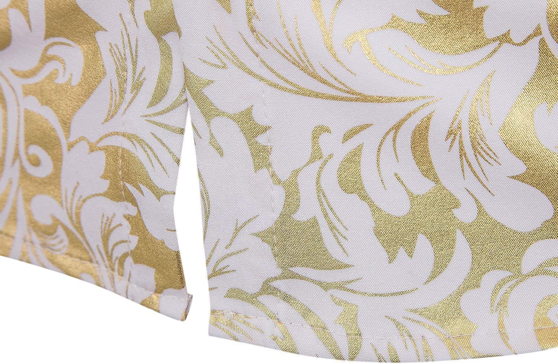 WHATLEES Camicia a maniche lunghe da uomo con stampa barocca colore: Oro
