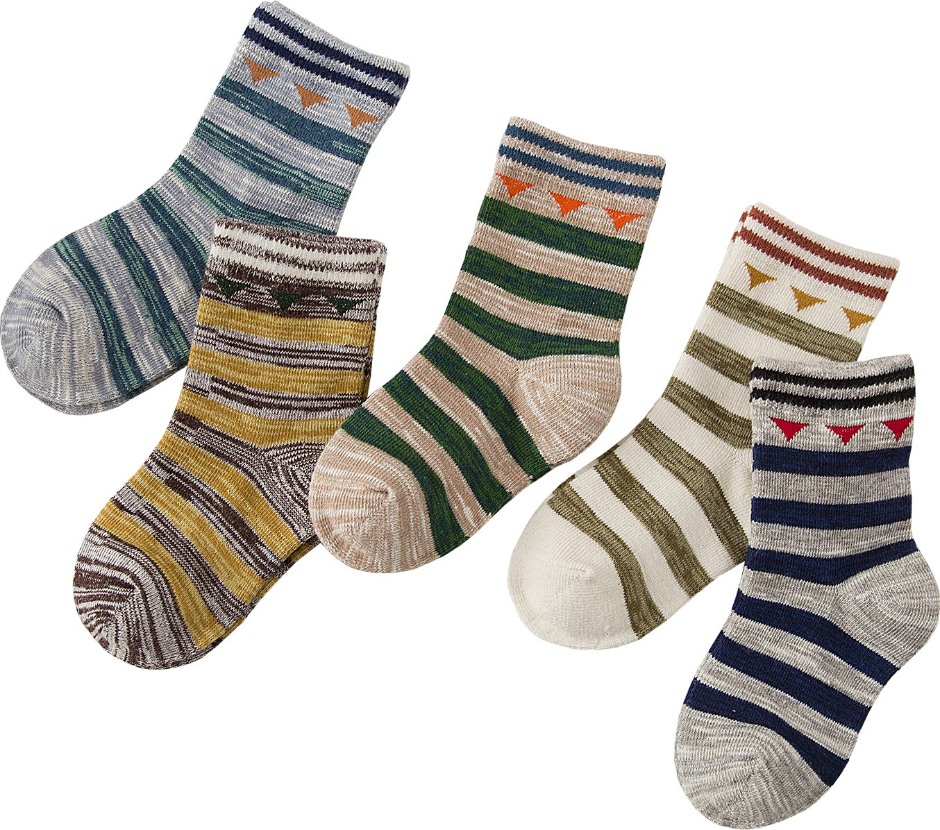 Searchself Boys Color Stripe Seamless Cotton Dress Socks (3-5 Years, set 3)