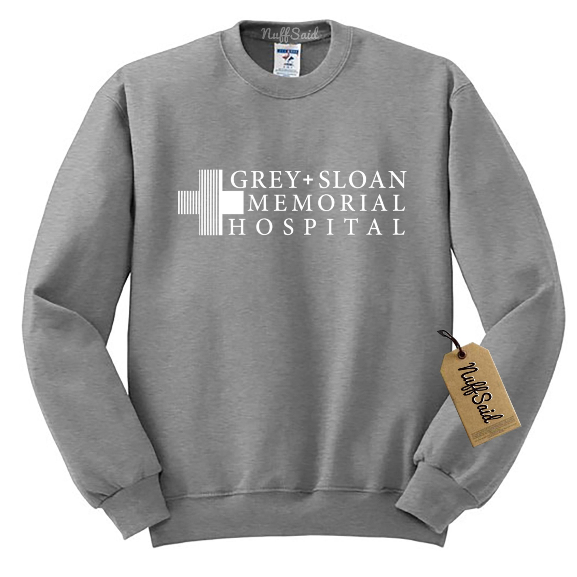 Grey Sloan Memorial Hospital Sweatshirt Sweater Crew Neck Pullover - Premium Quality (Small, Grey)