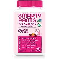 Daily Organic Gummy Women's Multivitamin: Probiotic, Vitamin C, D3 & Zinc for Immunity, Biotin, Omega 3, Selenium, B6, Methyl B12 by SmartyPants (120 Count, 30 Day Supply) Packaging May Vary