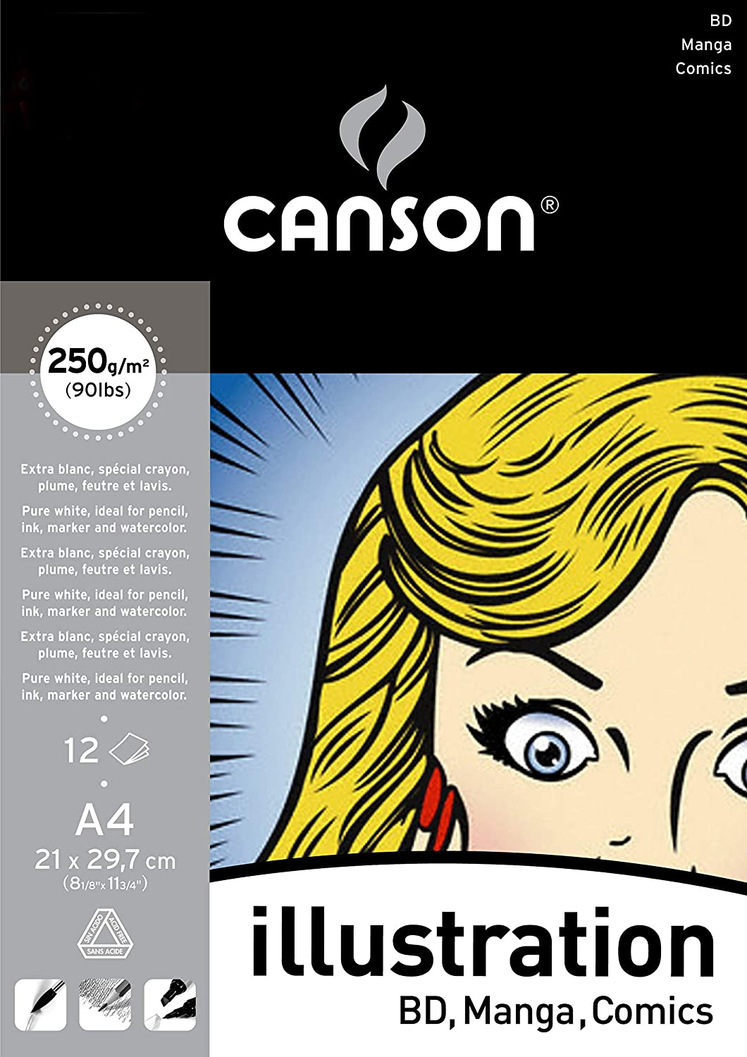 Bloc Encolado, A4, 12 Hojas, Canson Illustration Liso 250g