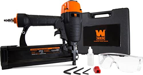 WEN 61764 16 Gauge Pneumatic Straight Finish Nailer with Carrying Case