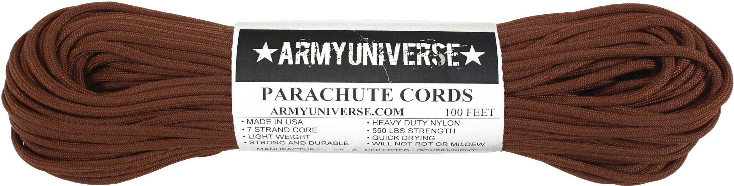 Army Universe Chocolate Brown 550LB Military Nylon Paracord Rope 100 Feet