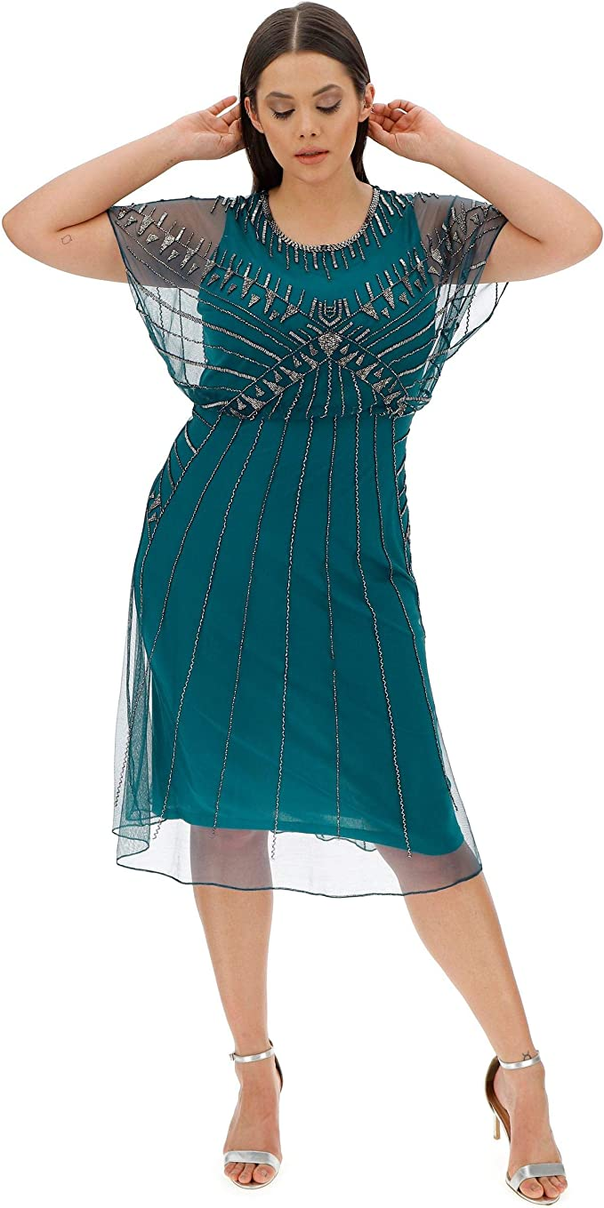 1920s Plus Size Flapper Dresses, Gatsby Dresses, Flapper Costumes JD WILLIAMS Womens Joanna Hope Beaded Dress £68.00 AT vintagedancer.com