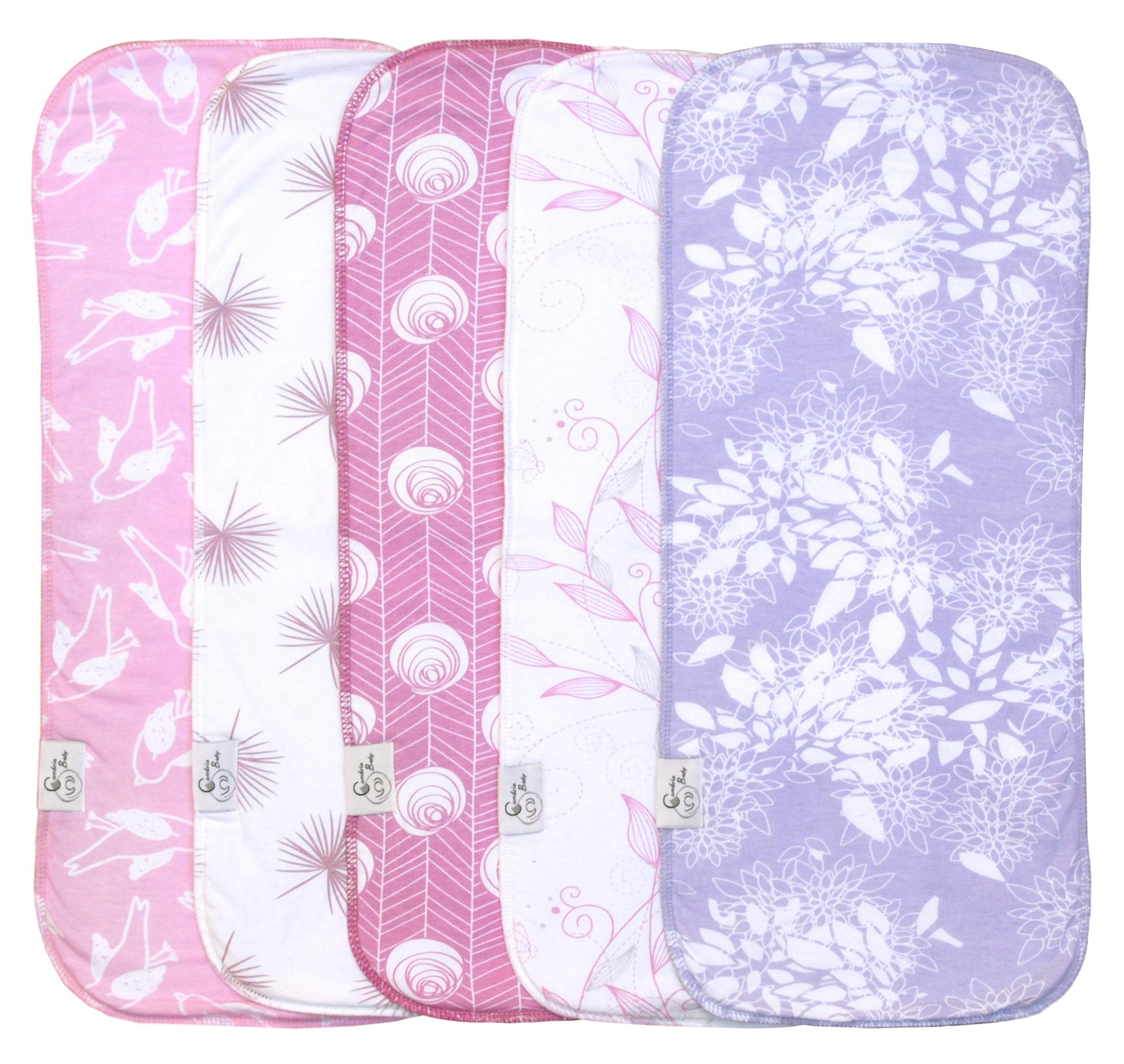 Cambria Baby 5 Pack Organic Cotton Premium Burp Cloths for Girl (5 Pack) by Cambria Baby