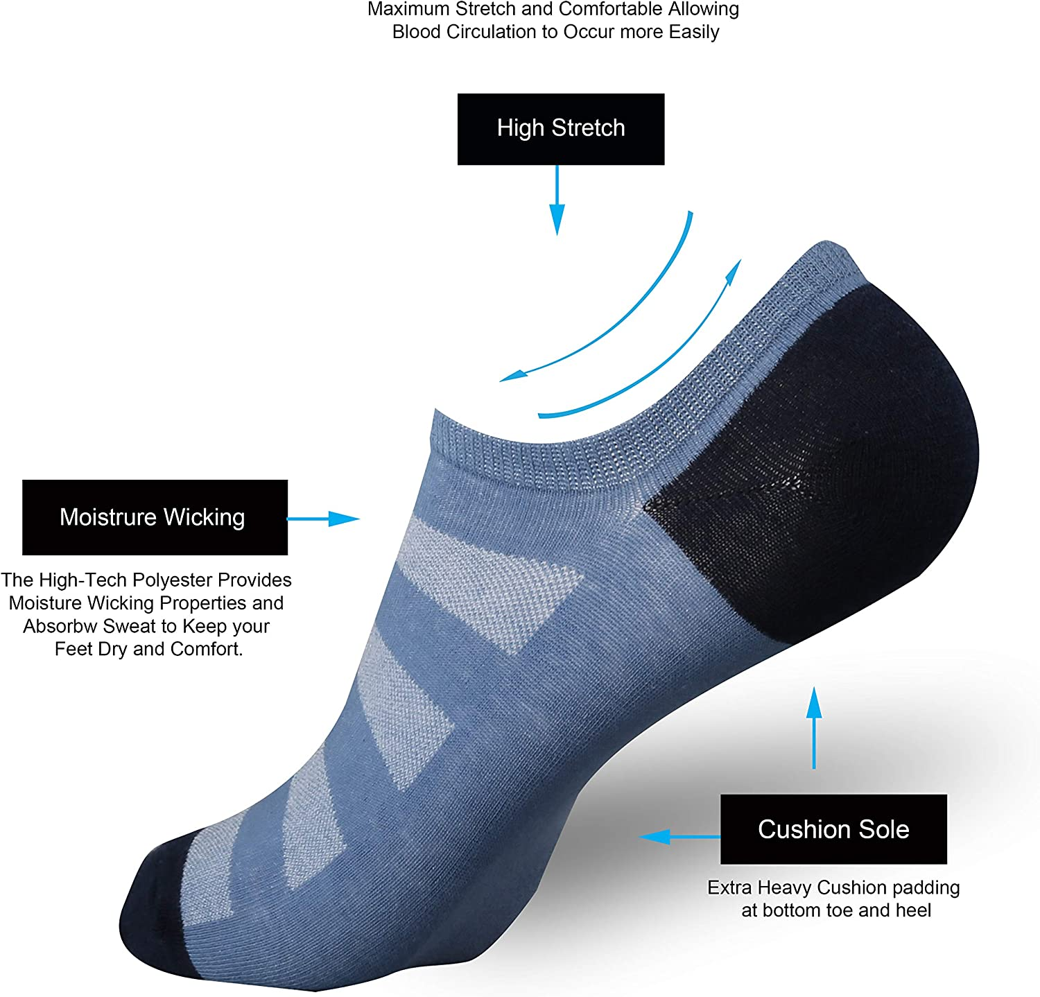 ONKE No Show Socks 12P//6P Pack Thin Flat Invisible Non Slip Loafer Sneakers Cotton Low Cut Socks Unisex for Men and Women
