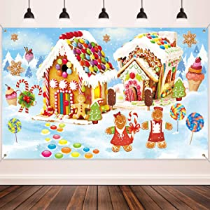 Christmas Holiday Decorations Supplies, Large Fabric Sweet Holiday Scene Banner Winter Wonderland Gingerbread Backdrop for Christmas Wall Decorations Party Photo Booth Props Background Banner