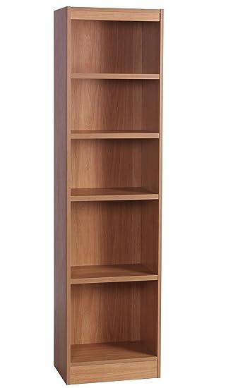 Home Office Furniture UK Tall Narrow Bookcase Bookshelf Files Cabinet, Wood,  Classic Oak,