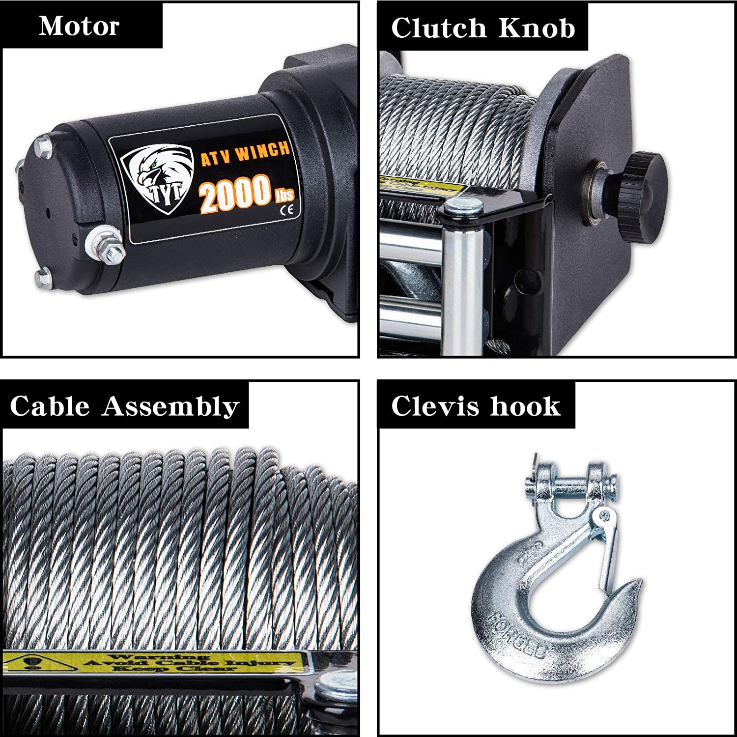 TYT 2000 lb Waterproof IP67 Single Line Portable Winch for Towing ATV//UTV Off Road Trailer 12V Winch with 15m Steel Steel and Wired Handle Load Capacity Electric Winch
