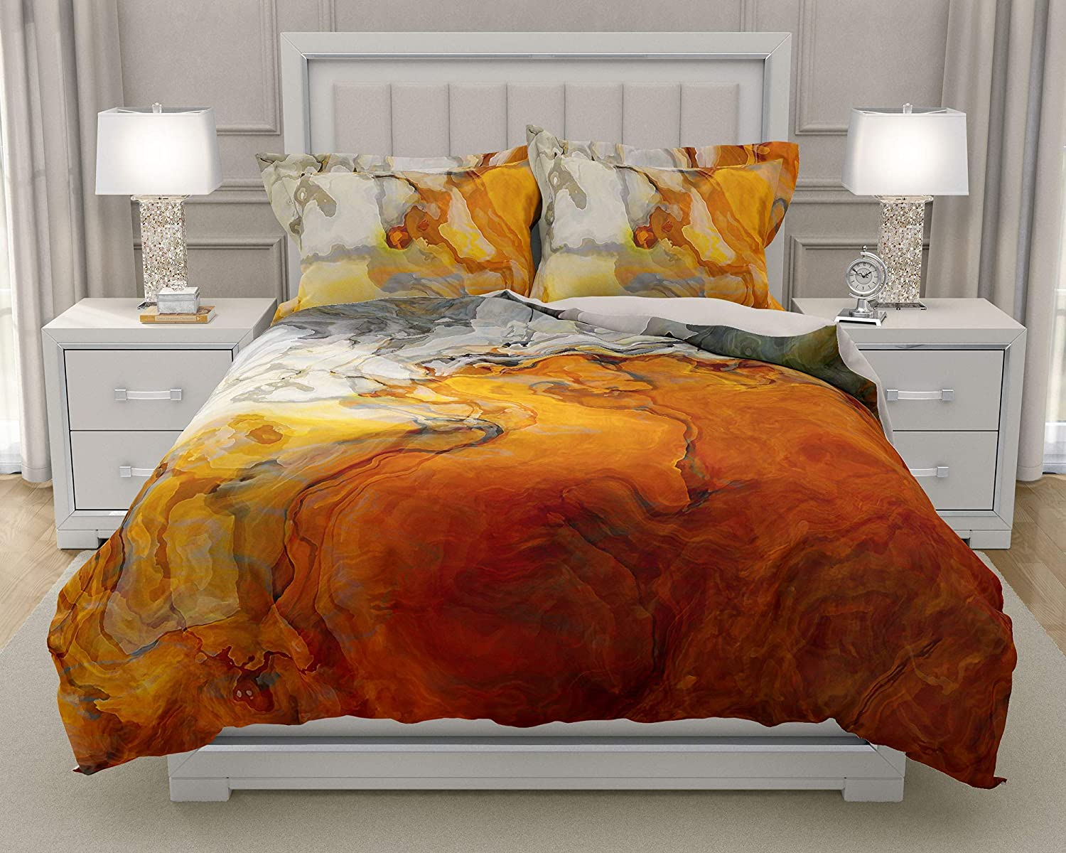 Image of King or Queen 3 pc Duvet Cover Set with abstract art, Baby Teeth