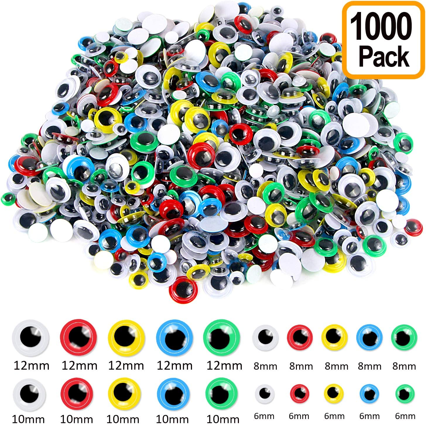 Upins 1000pcs Round Plastic Craft Wiggle Eyes Self-Adhesive Googly Eyes with Different Colors and Sizes for DIY Craft