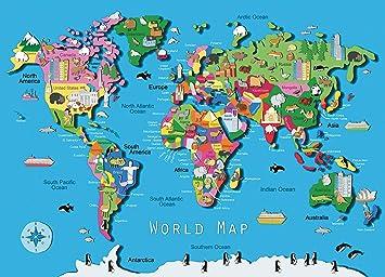 Amazon Com Ravensburger World Map 60 Piece Jigsaw Puzzle For Kids