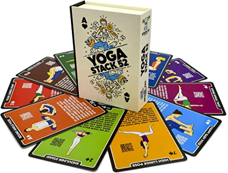 Stack 52 Yoga Exercise Cards: Designed by Certified Yoga Instructor. Video Instructions Included. Beginner to Advanced Poses and Asana Workout Games. ...
