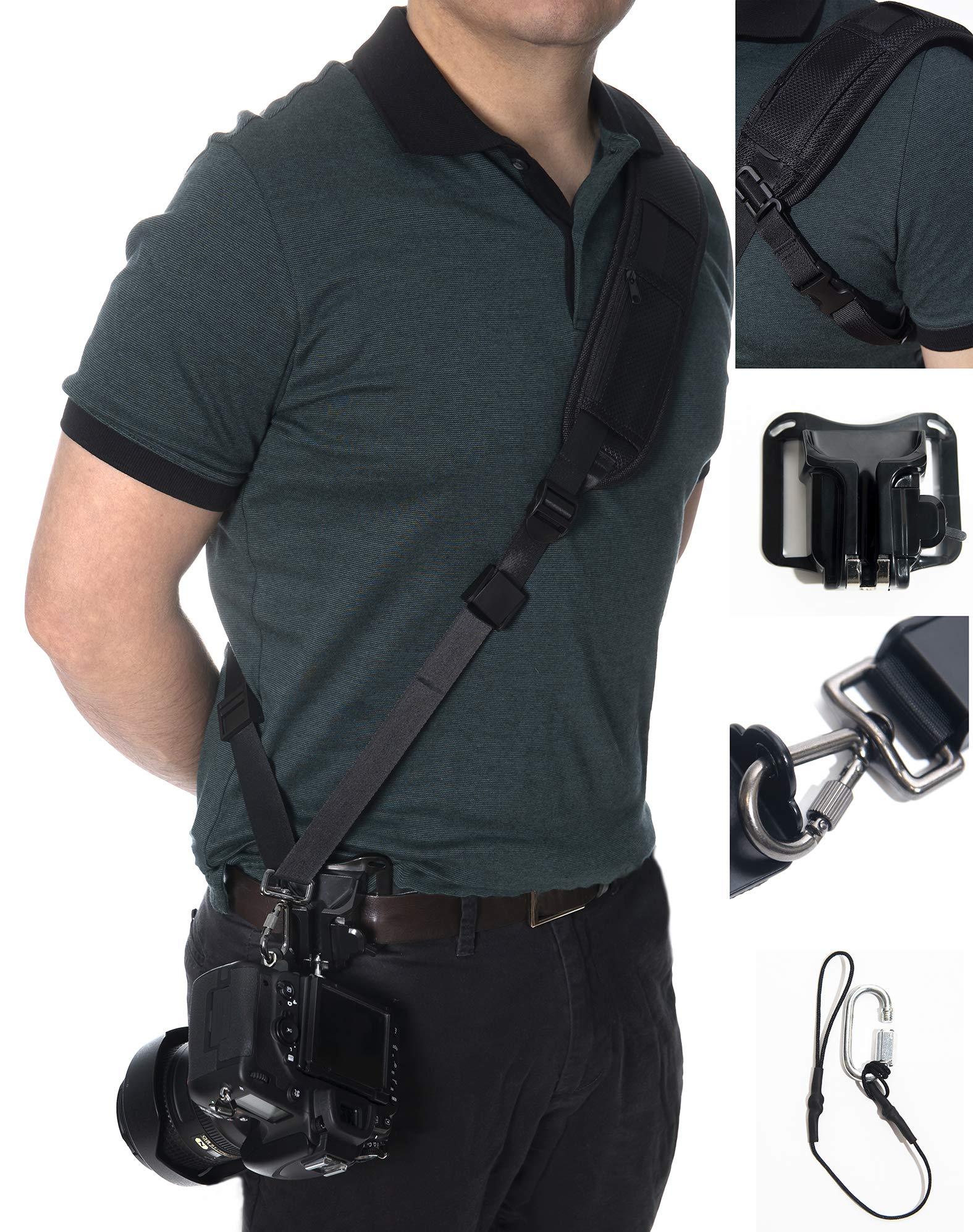 Camera Neck Shoulder Strap Sling with Quick Release Storage Safety Theather Belt Clip Holster Holder DSLR Accessories (Black-Camera Shoulder Strap with Belt Clip) by Electronics HQ