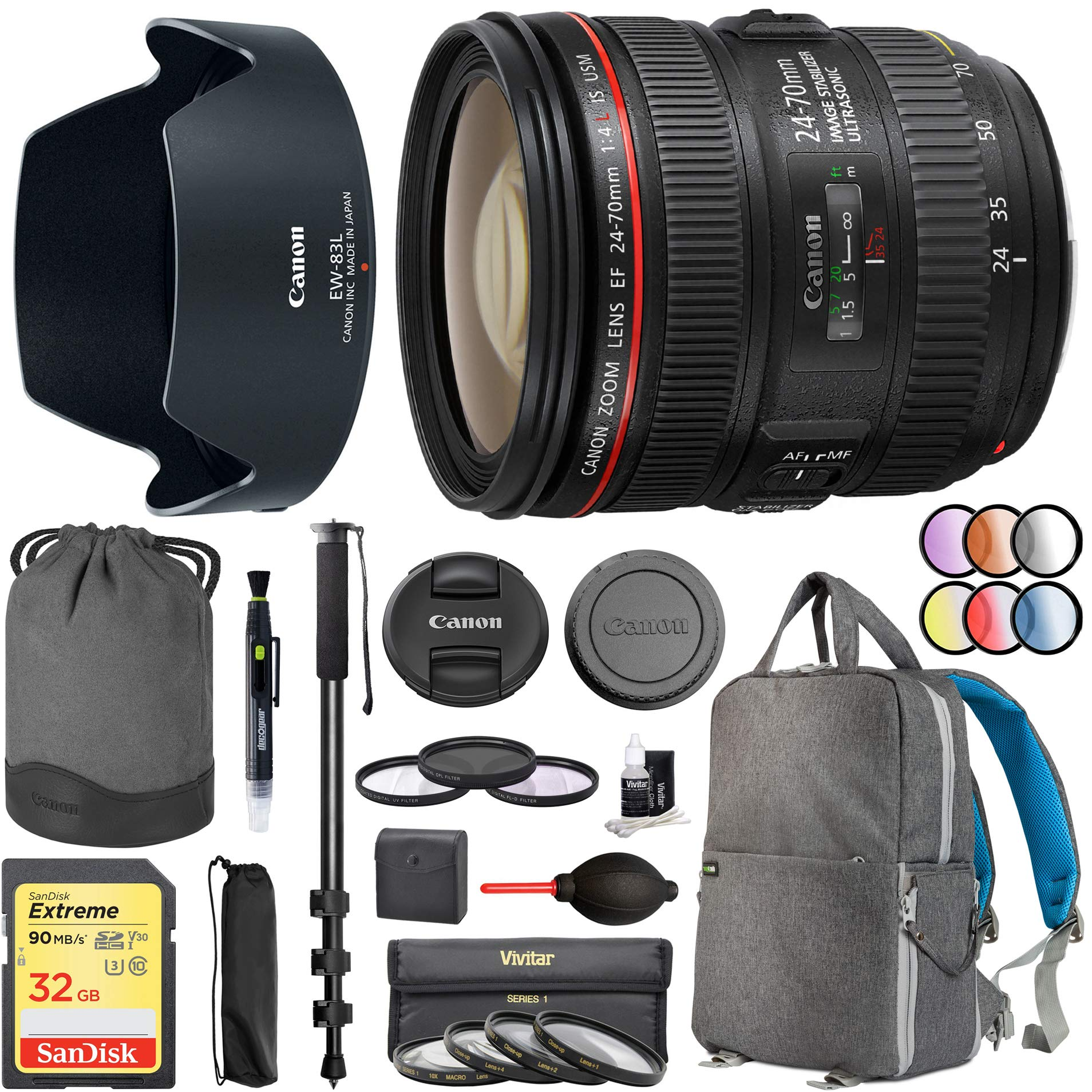 Canon EF 24-70mm f/4.0L is USM Standard Zoom Lens (6313B002) with Deco Gear Photography Backpack 77mm Multicoated UV, Polarizer & FLD Filter Kit Photo Video Monopod Bundle by Canon