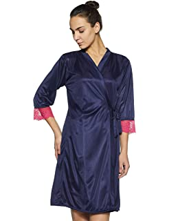 Clovia Women s 2 Pcs Satin Nightwear Set in Navy   Pink - Short Robe    Nightie 85567d476