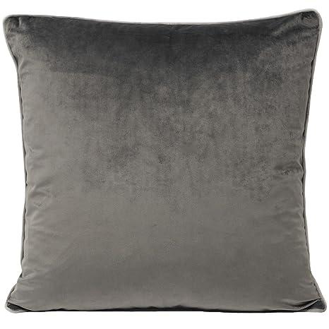 Funda de cojín de terciopelo de lujo, en color gris con ...