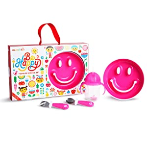 Munchkin Be Happy Toddler Dining Set, Includes Suction Plate, Straw Cup and Utensil Set, Pink