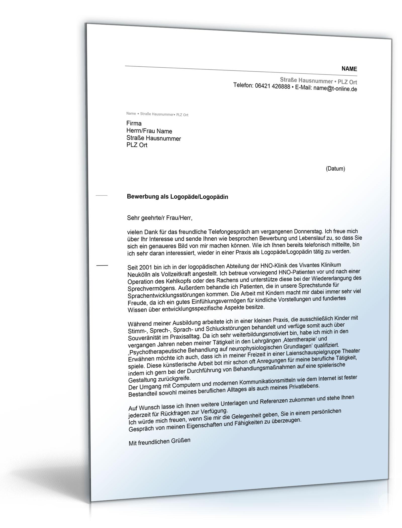 Anschreiben Bewerbung Logopäde [Word Dokument]: Amazon.de: Software