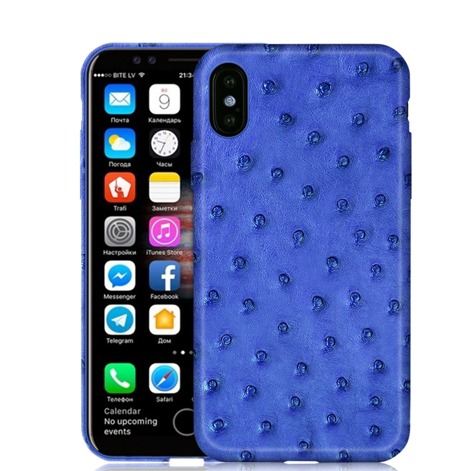 Luxury Case by KEBE Upgrade Ostrich Leather Lightweight Hardshell Back Cover Case Shockproof Case for Iphone X 5.8 Inch Blue