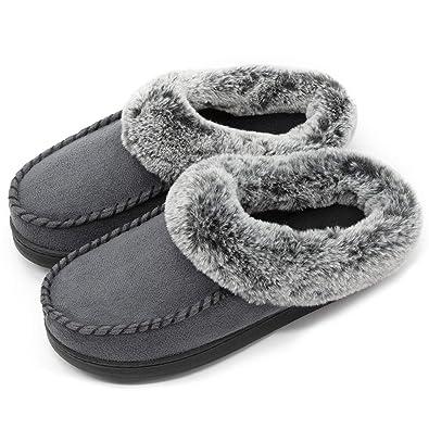 2919cd39859182 ULTRAIDEAS Women s Cozy Memory Foam Moccasin Suede Slippers with Fuzzy  Plush Faux Fur Lining