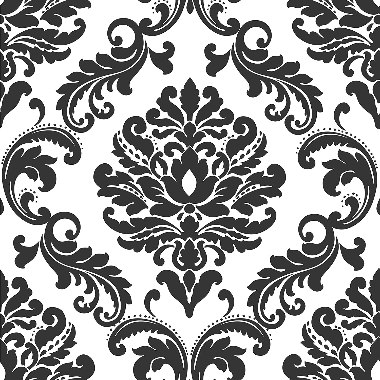 Ariel black and white damask peel and stick wallpaper wallpaper borders amazon com