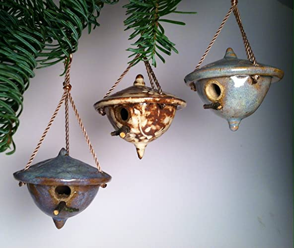 Amazon.com: Set of 3 Christmas Ornaments - Miniature Handcrafted ...