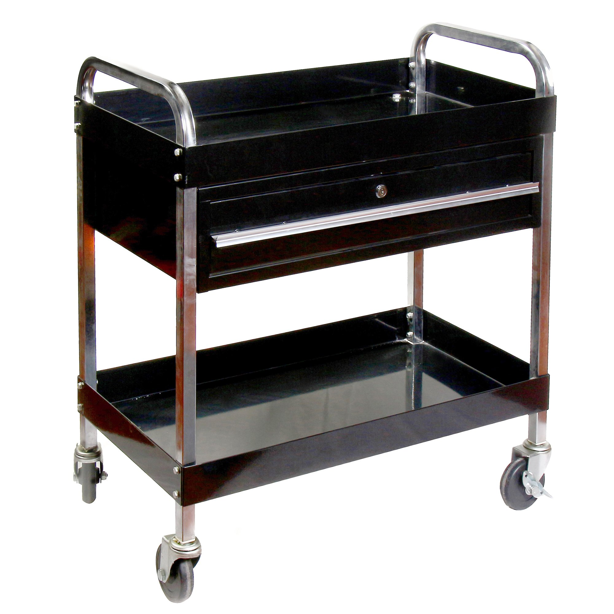 RTJ Service Cart Tool Cart with Locking Drawer 350 lbs Capacity, Jet Black by RTJ