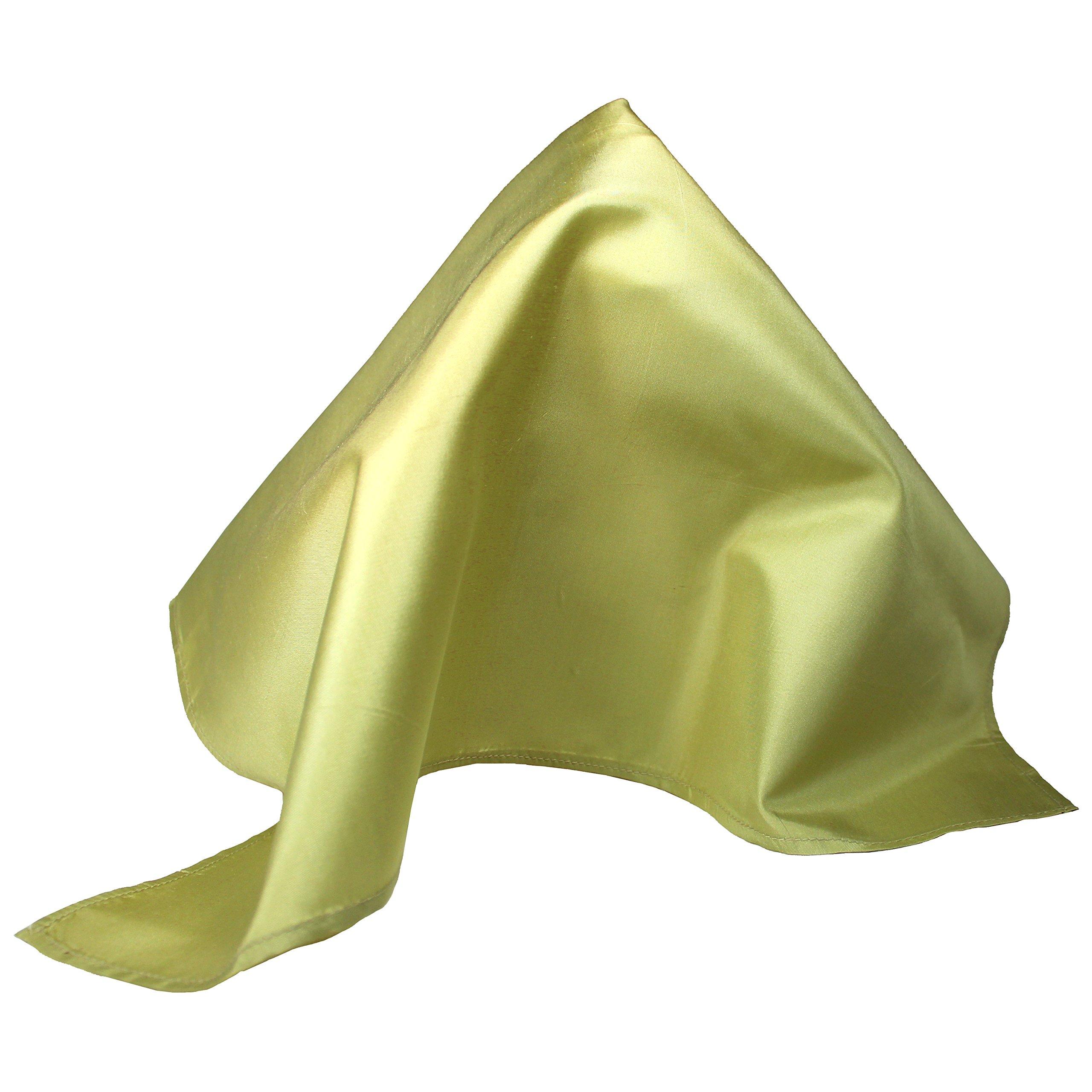 Fine Golden Green Silk Pocket Square - Full-Sized 16''x16''