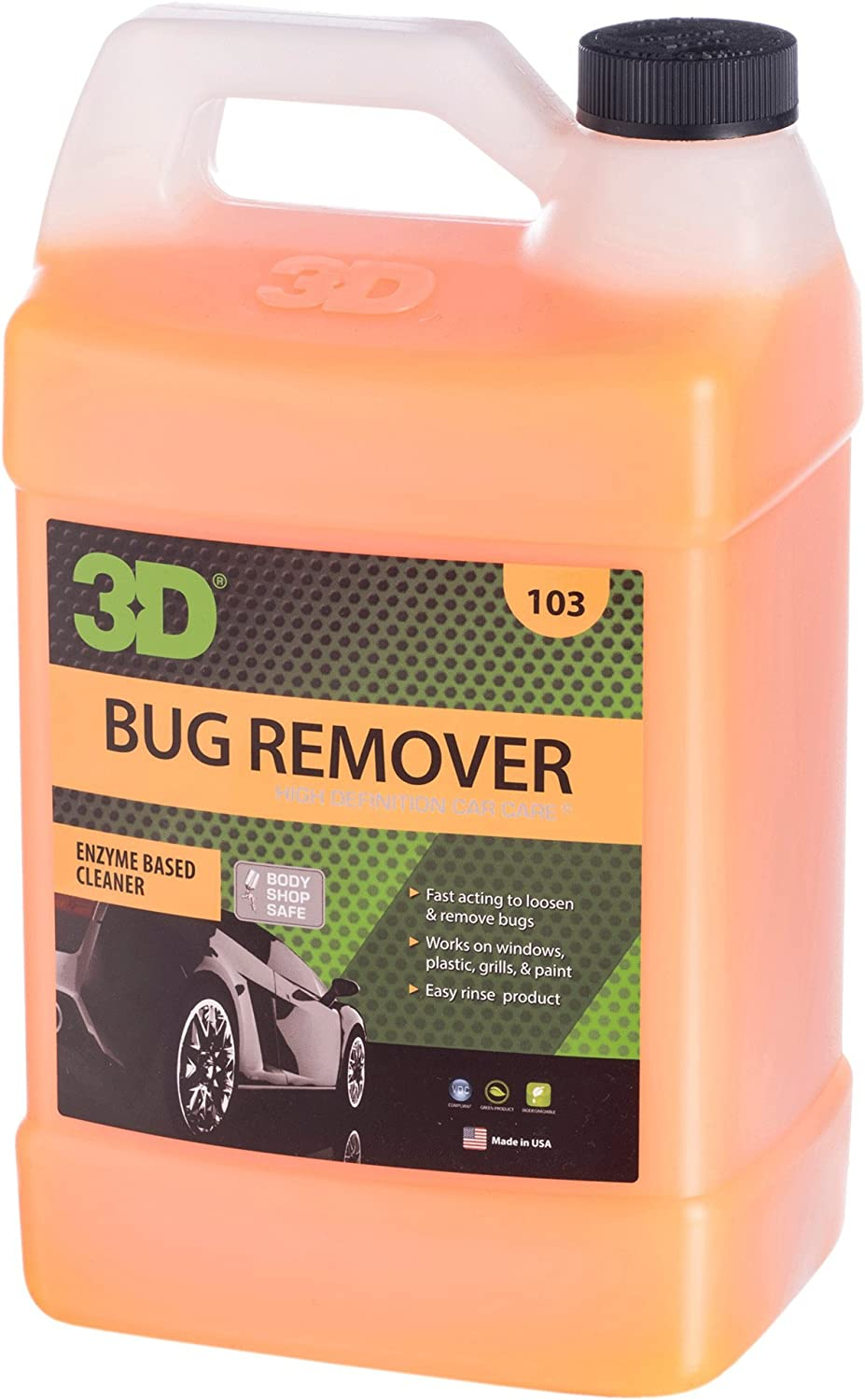 3D Auto Detailing Products Bug Remover | Enzyme Based Cleaner | Concentrated Degreaser | Removes Insects & Bugs | Works on Plastic, Rubber, Metal, Chrome, Aluminum, Windows & Mirrors (Gallon)